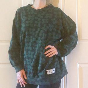 Vintage 90s Bongo Hoodie Sweatshirt Green M
